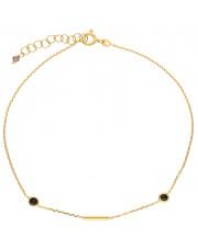Złota bransoletka na kostkę z cyrkoniami