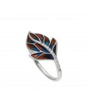 Srebrny pierścionek z motywem liścia
