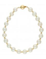 Złota bransoletka z białymi perłami