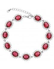 Srebrna bransoleta z czerwonymi cyrkoniami