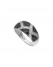 Srebrny pierścionek z czarnymi cyrkoniami