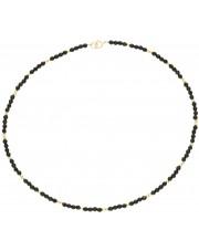Złoty krótki naszyjnik z onyksem 38 cm