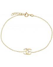 Złota modna bransoletka z cyrkoniami