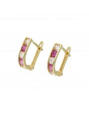 Złote kolczyki przecinki z różowymi cyrkoniami