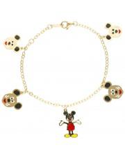 Złota bransoletka z myszką mickey dla dziewczynki