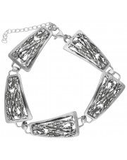 Ażurowa srebrna bransoleta