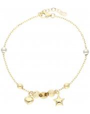 Złota bransoletka z przywieszkami i przekładkami