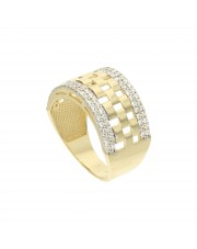 Złoty pierścionek szachownica z cyrkoniami