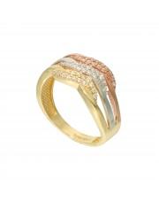 Piękny złoty pierścionek w trzech kolorach