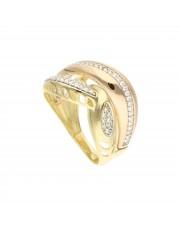 Złoty przeplatany pierścionek z cyrkoniami
