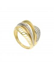 Fantazyjny złoty pierścionek z cyrkoniami