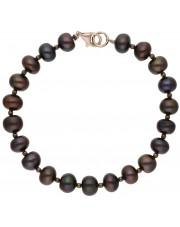 Srebrna bransoletka z czarnymi perłami