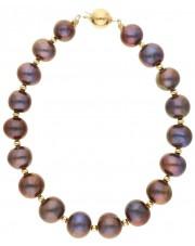 Złota bransoleta z grafitowymi perłami