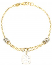 Złota bransoletka z ażurową przywieszką