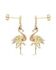 Złote kolczyki flamingi