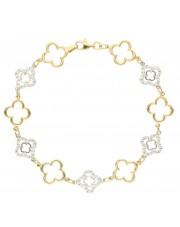 Złota bransoletka z cyrkoniami i koniczynkami