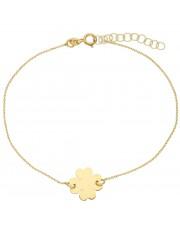 Złota bransoleta celebrytka z koniczyną