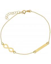 Złota bransoleta ze znakiem nieskończoności i blaszką