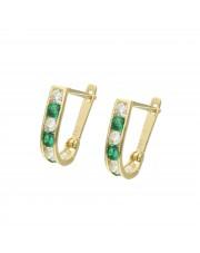 Złote kolczyki przecinki z zielonymi cyrkoniami