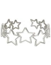Srebrna sztywna bransoletka z gwiazdami