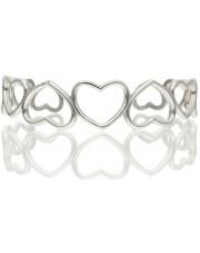 Srebrna sztywna bransoletka z sercami