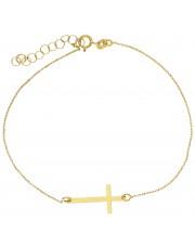 Złota bransoletka celebrytka z krzyżykiem