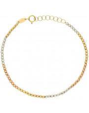 Złota bransoletka z diamentowanych kulek w trzech kolorach złota