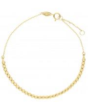 Złota bransoleta z diamentowanych kulek 19 cm