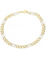 Solidna pełna bransoletka pancerka z białego i żółtego złota