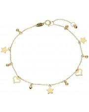 Złota bransoletka z przywieszkami