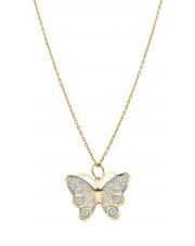 Złota zawieszka niebieski motyl