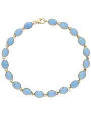 Piękna złota bransoletka z niebieskim opalem