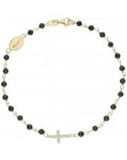Złota bransoleta z krzyżem i medalikiem