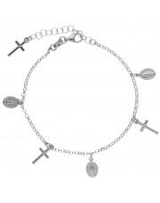 Srebrna bransoleta z medalikami i krzyżykami