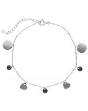 Srebrna bransoleta celebrytka  z przywieszkami
