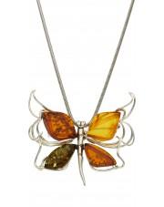 Srebrna zawieszka broszka motyl z bursztynu