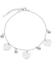 Srebrna bransoleta z przywieszkami w kształcie serca