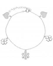 Srebrna bransoleta  z przywieszkami i cyrkoniami
