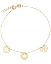 Złota bransoletka celebrytka z przywieszkami