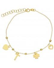 Złota ciekawa bransoletka z przywieszkami