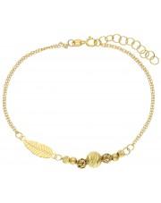 Subtelna złota bransoletka z piórkiem