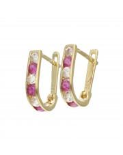 Złote kolczyki dla dziewczynki z różowymi cyrkoniami