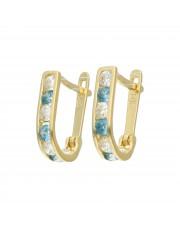 Złote kolczyki z błękitnymi cyrkoniami