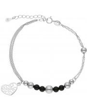 Srebrna bransoleta z przywieszką w kształcie serca