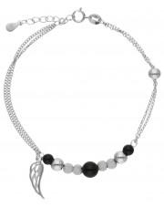 Srebrna bransoletka z przekładkami piórko
