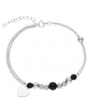 Efektowna srebrna bransoleta z przywieszkami