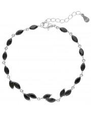 Srebrna bransoleta z czarnymi cyrkoniami