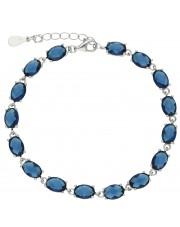 Efektowna srebrna bransoleta z niebieskimi cyrkoniami