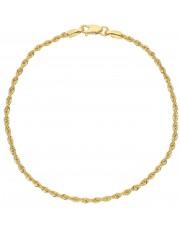 Złota subtelna bransoletka kordel 19 cm