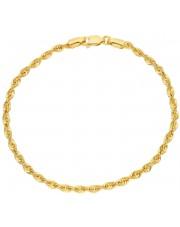 Złota ciekawa bransoletka kordel 19 cm